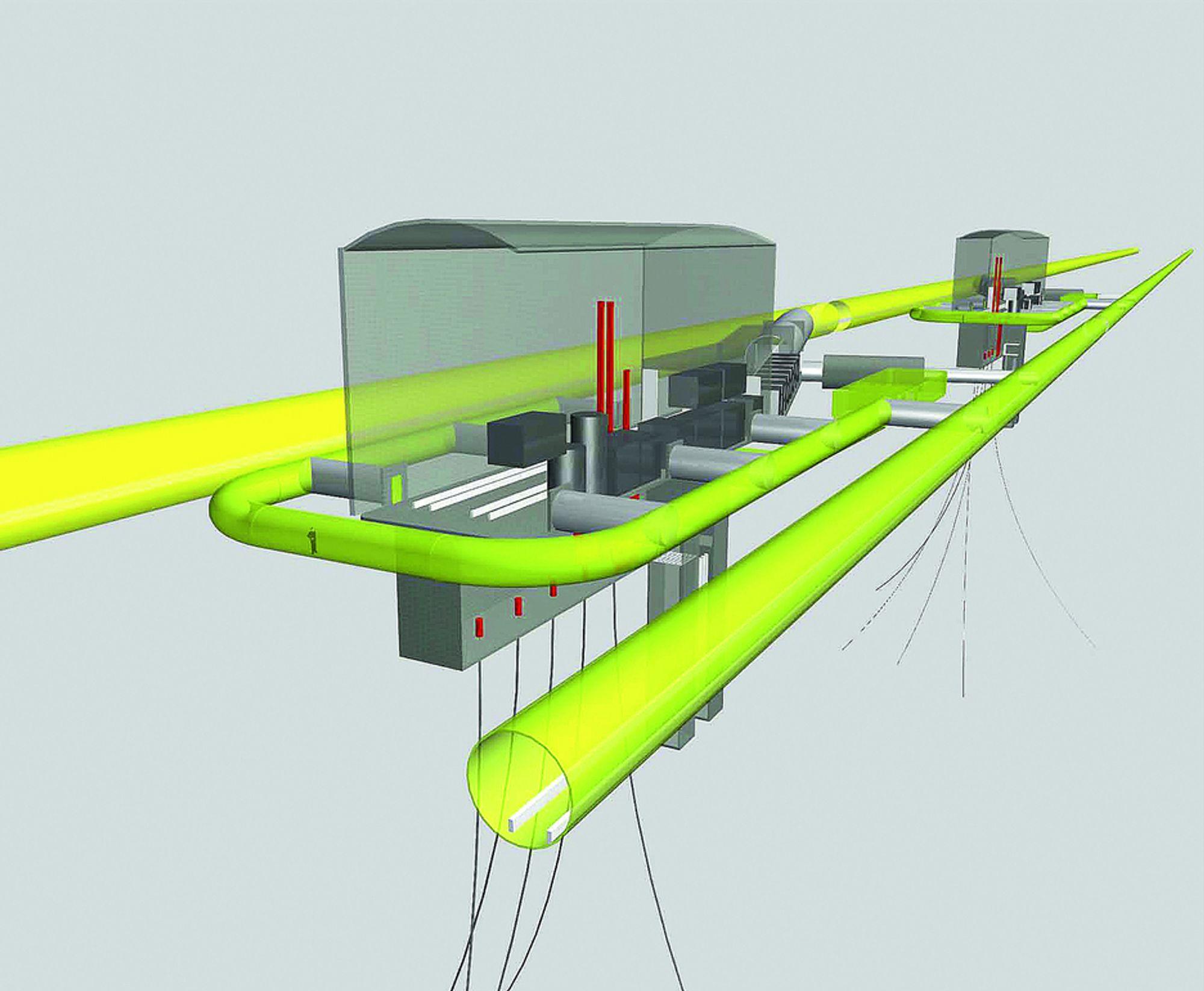 Slik så Acona for seg at løsningen kan konstrueres. To tunneler går parallelt på hver side av produksjonsfjellhallene.