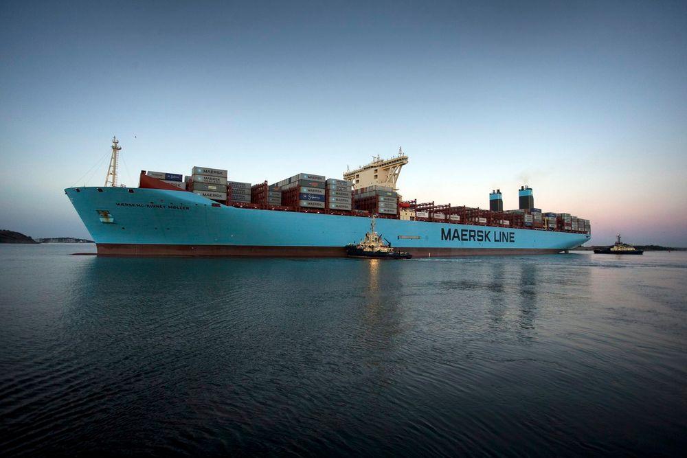 Verdens største containerskip inntil desember 2014. Det første Triple E-skipet, Mærsk Mc-Kinney Mølle. Skipet er 400 meter langt, 59 meter bredt och 73 meter høyt. Fartøyet kan transportere 18.000 containere.
