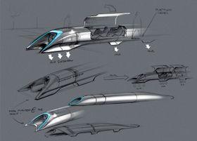 En skisse av Hyperloop-kapselen. Foran ses kompressoren som skal redusere luftmotstanden til kapselen og skaffe luft til luftlagerne som kapselen skal sveve på.