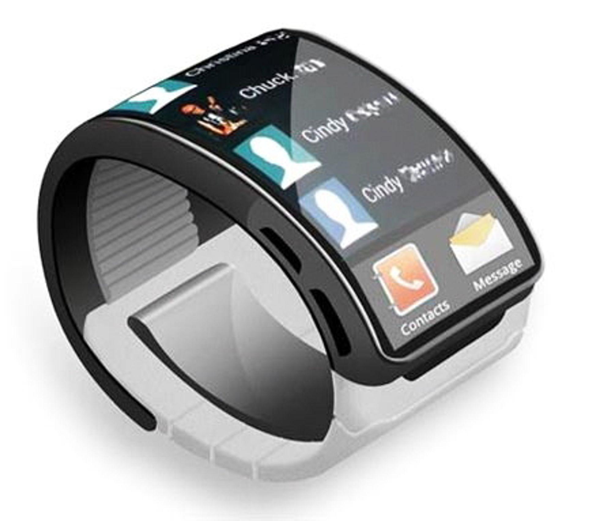 Er dette Samsung Galaxy Gear?Det har lekket ut en del informasjon om Samsungs kommende smartklokke basert på patentdokumenter. Slik kan den se ut med en fleksibel berøringsfølsom OLED-skjerm som dekker mye av omkretsen rundt håndleddet.