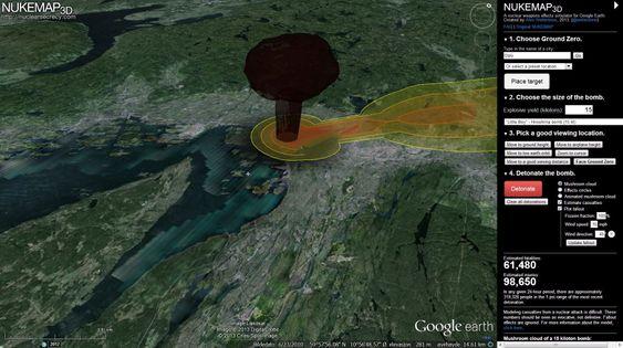 Simulatoren viser en animasjon av soppskyen som ville oppstått etter en atomeksplosjon over Oslo, samt påfølgende spredning av radioaktivt nedfall.