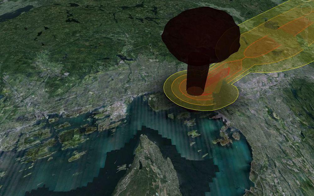 Visualiseringen av en 15 kilotonns atomvåpen som blir sluppet over Oslo.