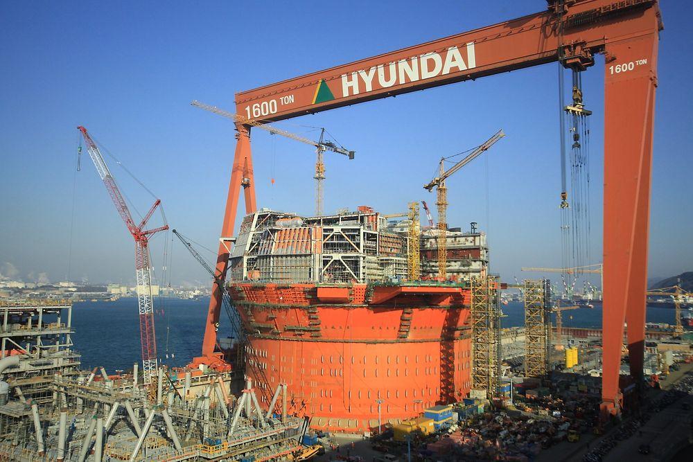 Sør-Korea: Den flytende produksjonsenheten (FPSO) til Goliat bygges ved Hyundai-verftet i Ulsan.