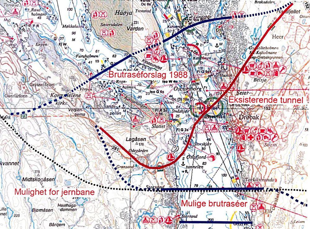 VALGETS KVAL: Illustrasjonen viser dagens tunnel i midten, og de to foreløpige brutraseene på henholdsvis nord- og sørsiden.