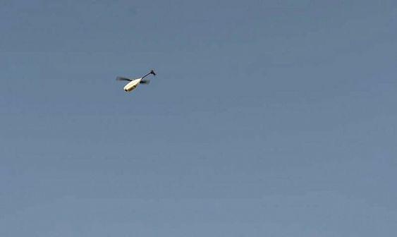 Her er et Black Hornet i lufta på rekognoseringsoppdrag i forbindelse med operasjon Qalb i Helmand-provinsen.
