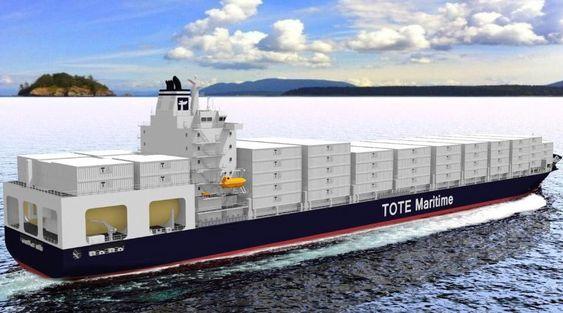 Plass: Gasstankene i akterenden tar opp noe av lastekapasiteten på de nye 3.100 TEU-skipene til Tote Inc.