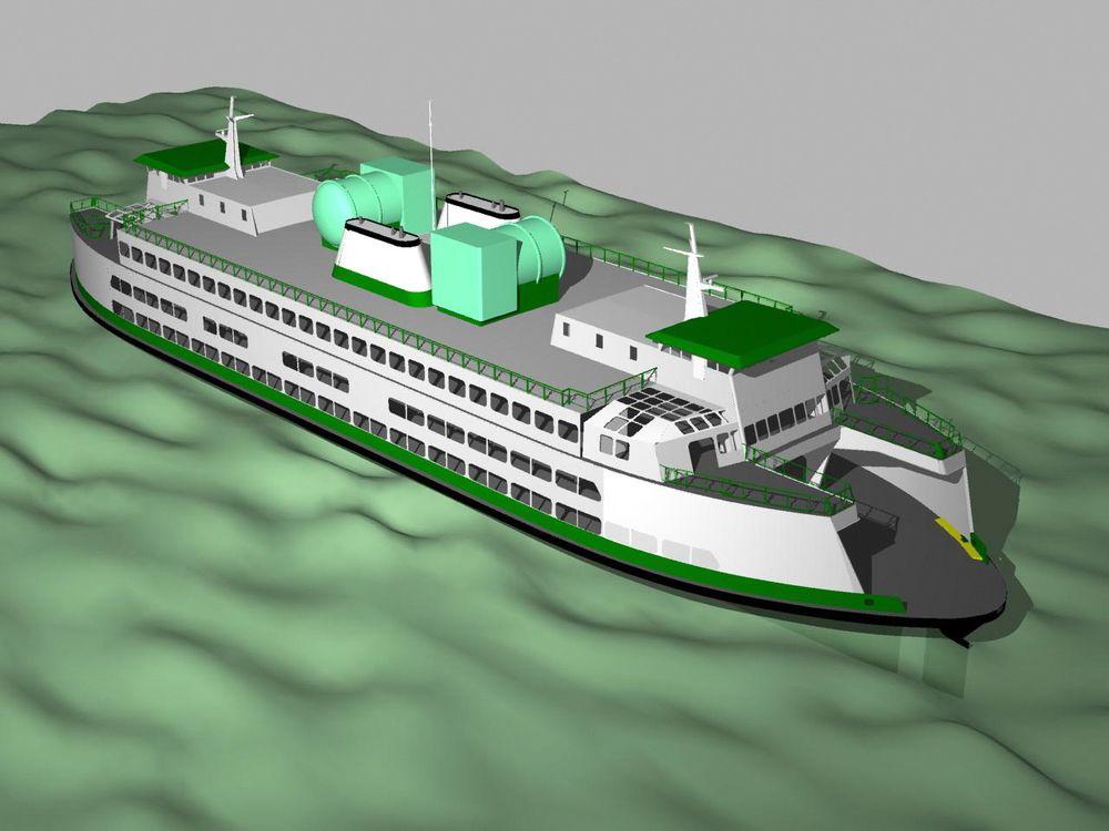 Takomontert: Illustrasjonen viser plassering av LNG-tanker på taket av fergene i  Issaguah-klassen. Fergene på 100 meters lengde og 24 meters bredde, kan ta 1200 passasjerer og 124 biler.