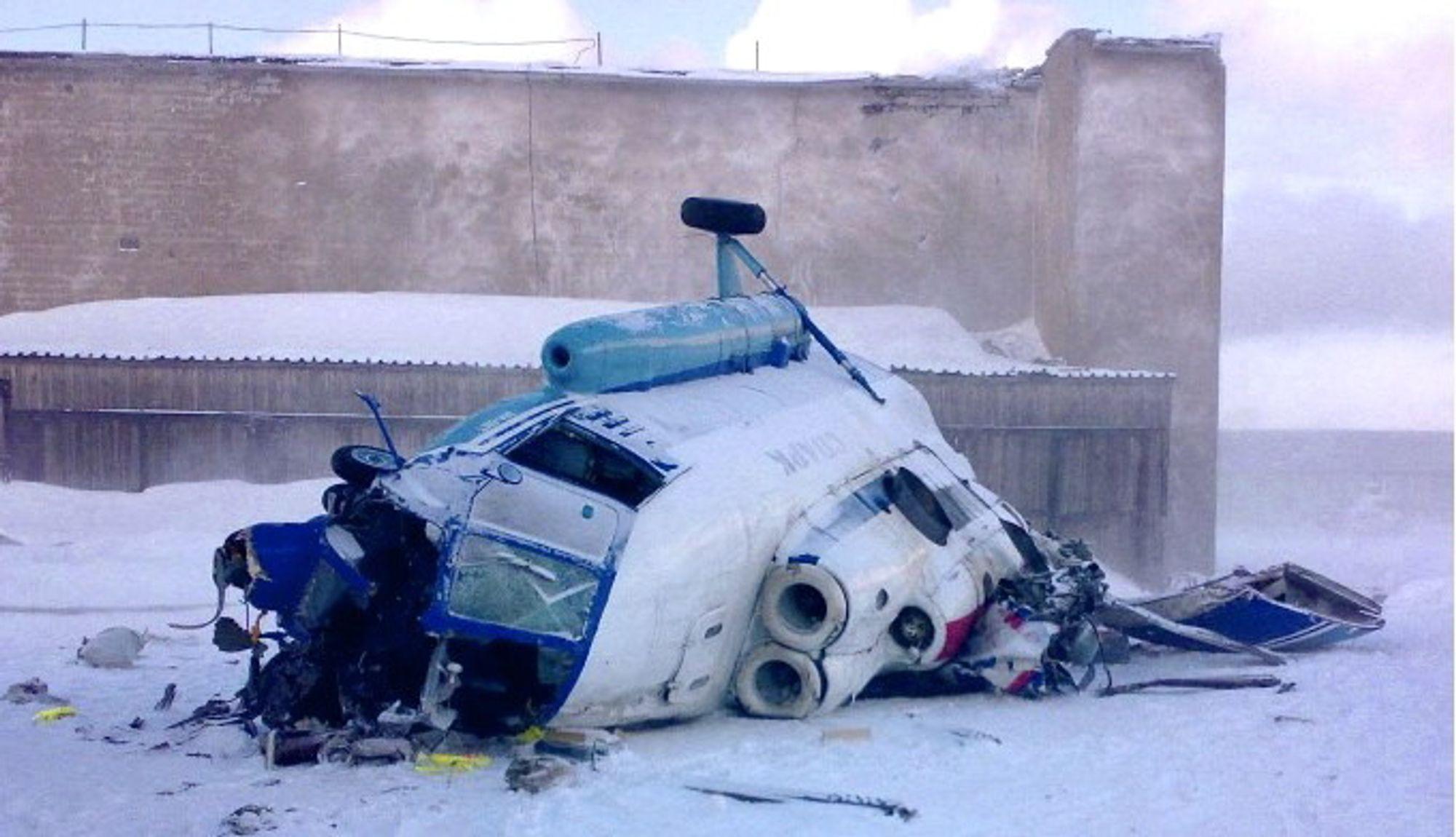 Tre omkom da dette Mi-8MT-helikopteret styrtet på Kapp Heer-basen 3,5 kilometer nord for Barentsburg på Svalbard 30. mars 2008.