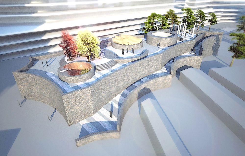 Arkitekttegnet: Mårtensdal skal bygges like ved et nytt kontorbygg i et tettbebygd område, og stasjonen blir derfor plassert under jorden.