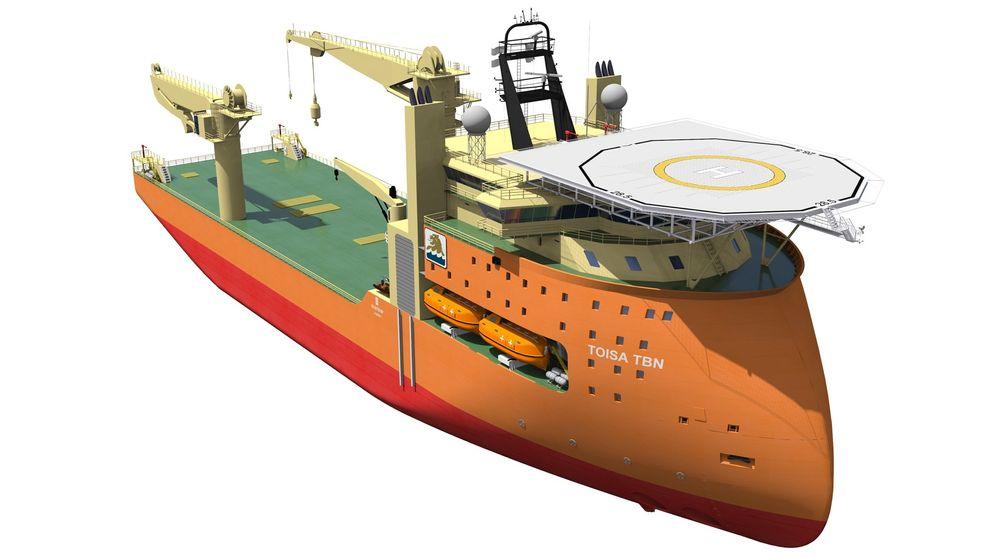 Tungløft: Den store krana kan svinges 360 grader og løfte opp til 900 tonn og brukes ned til 3.500 meter. Skipet kan gjøres om til rørleggingsfartøy.