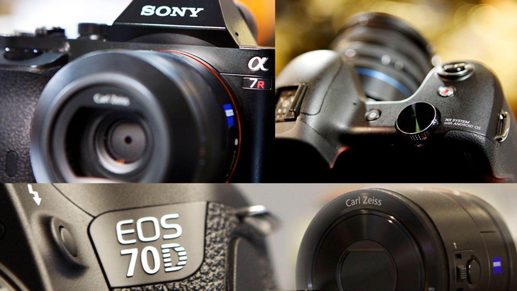 Innovasjoner: Sony A7 r, Samsung Galaxy NX, Canon EOS 70D og Sony QX-100. Foto: Eirik Helland Urke