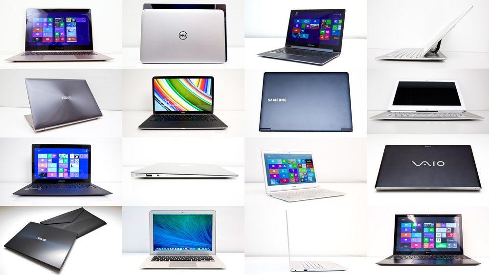 Fra venstre øverst og rundt med klokka: Acer UX31LA, Dell XPS 13, Samsung Ativ Book 9 Plus, Sony Vaio Duo 13, Sony Vaio Pro 13, Acer Aspire S7, Macbook Air 13 og Asus UX301LA.