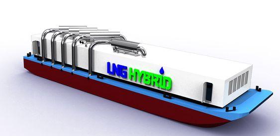 Første skisse av et gasdrevet flytende kraftverk for  Hamburg havn. Becker Marine Systems og rederiet AIDA Cruises har samarbeidet om å utvikle LNG Hybrid-lekteren. Lekteren på 74 meter får 6 Caterpillar LNG-drevne motorer og fem generatorer på til sammen 7,5 MW. Sommeren 2014 tas den i bruk.