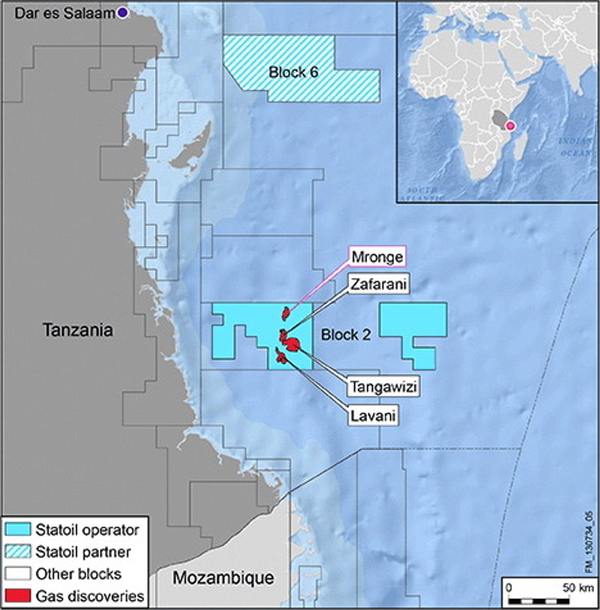 Gigantisk: Statoils gassfunn på utsiden av Tanzania kan nå utgjøre så mye som 3,6 milliarder fat oljeekvivalenter.