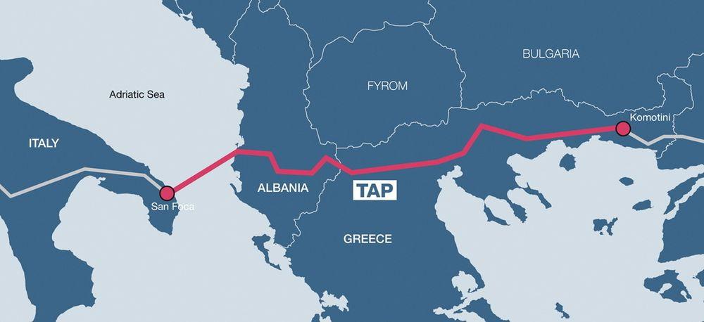 TAP: Statoil har 20 prosents eierandel i Den transadriatiske rørledningen (TAP) som nå skal gå på tvers av Hellas, Albania og inn i Italia.