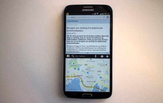 To vinduer: Med en så stor skjerm som i Galaxy Mega kommer Samsungs programvare som kan dele skjermen i to, og kjøre to programmer samtidig, til sin rett.