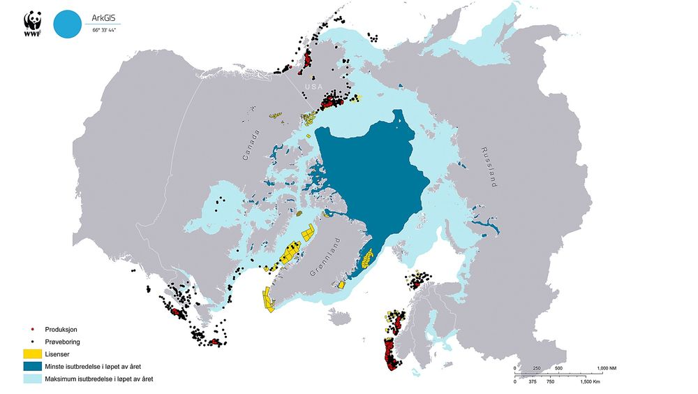 Oversikt: Miljøorganisasjonen WWF har laget dette verktøyet for å generere kart med oversikt over eksisterende olje- og gassaktiviteter i Arktis. Russland er ikke dekket, og heller ikke planlagte lisensområder. Utover dette er det viktig å merke seg at prøveboringer også omfatter brønner som ikke er aktuelle for produksjon. (Klikk på kartet for større utgave)