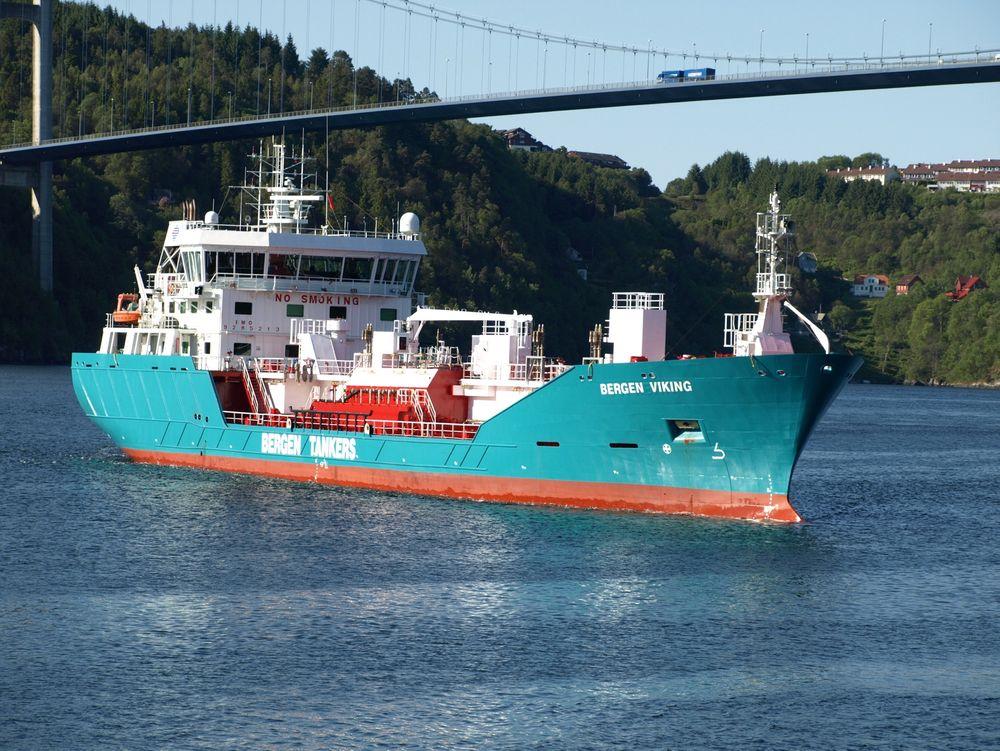 Seksåring: Bergen Viking er en 95 meter lang produkt- og kjemikalietanker. Skipet ble bygget i 2007, og er en del av Bergen Tankers flåte på seks fraktefartøy. Ombyggingen til gass skal være ferdig i løpet av  juni neste år.