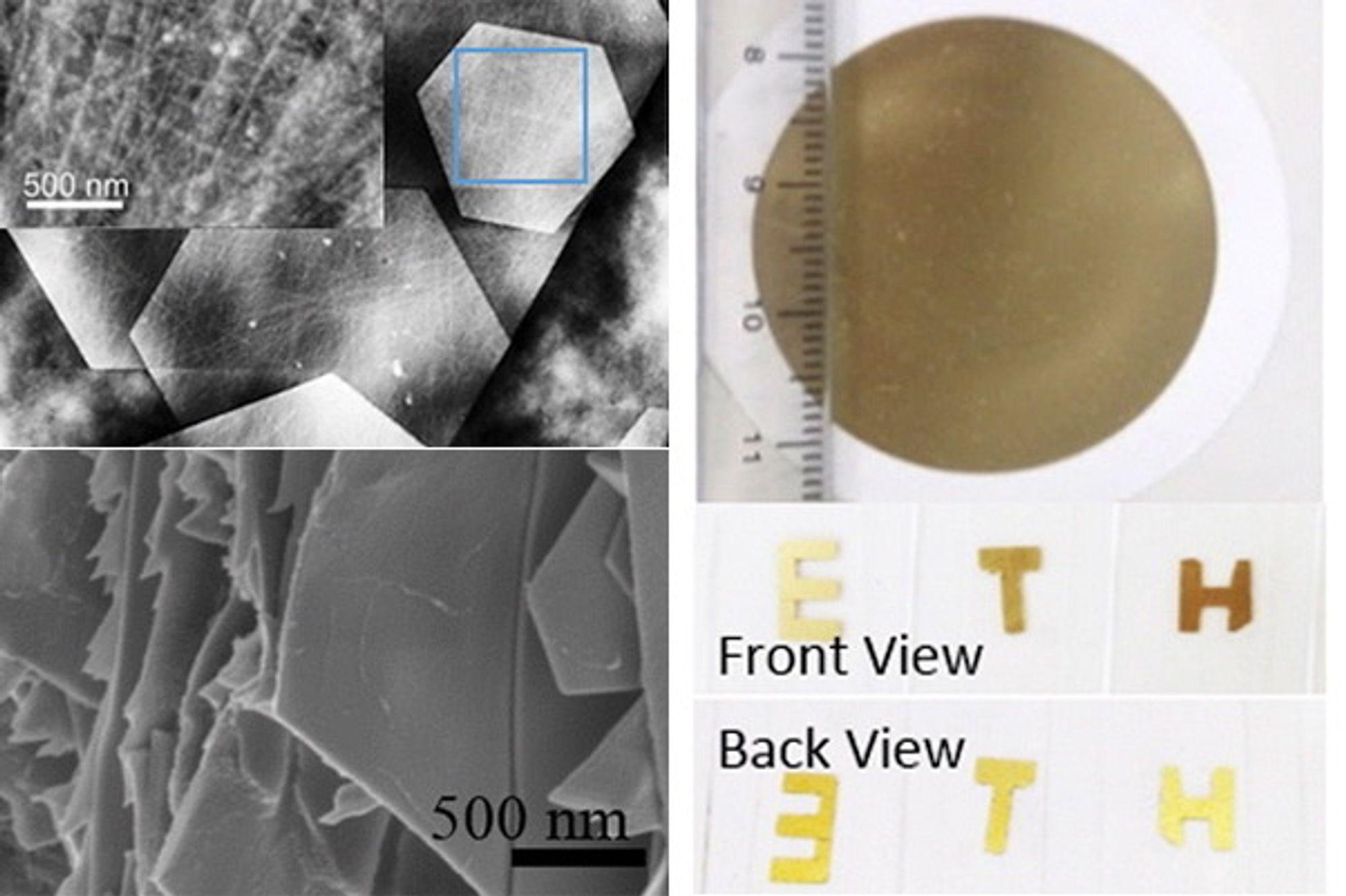 Øverst til høyre er det ferdige gullhybridet. Øverst til venstre sees det på mikronivå og nederst til venstre på nanonivå.