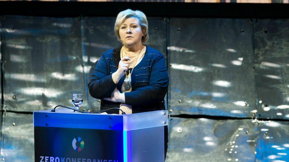 Statsminister Erna Solberg snakket om regjeringens klimapolitikk under Zerokonferansen i Folketeatret i Oslo tirsdag.