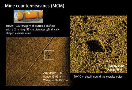 Syntetisk aperture sonar (SAS)-bilde av en dummy-mine på havbunnen.