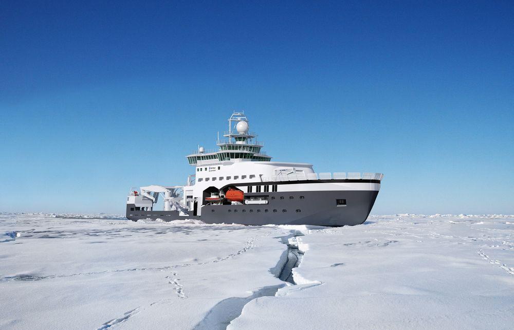 PLATTFORM: FF Kronprins Haakon skal etter planen være ferdig sommeren 2016 og blir da verdens mest moderne isgående forskningsskip. Skipet blir 100 meter langt, får 15-16 spesiallaboratorier og kan ha med 55 personer.