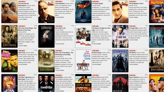 Slik vises filmene man søker etter.