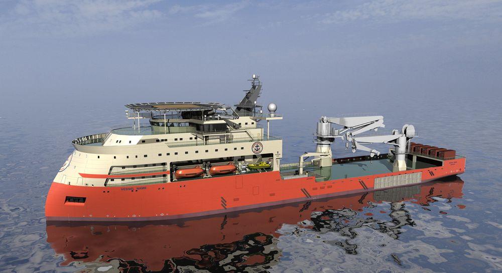 TUNGLØFT: To store kraner og tre moonpool gjør SX165-desginet til Ulstein svært anvendelig for konstruksjonsoppgaver på havbunnen ned mot 3000 meter.