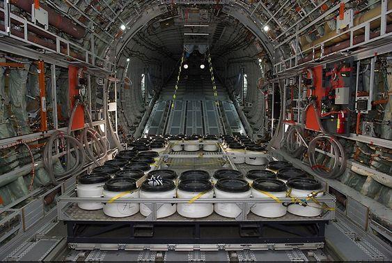 Her er den vulkanske asken om bord i A400M-flyet.
