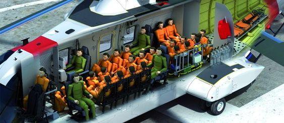 AW101-kabinen har plass til 30 seter med kollisjonsbeskyttelse. Når det blir mer enn 19 passasjerer er det samtidig krav om et mannskap på minst tre.
