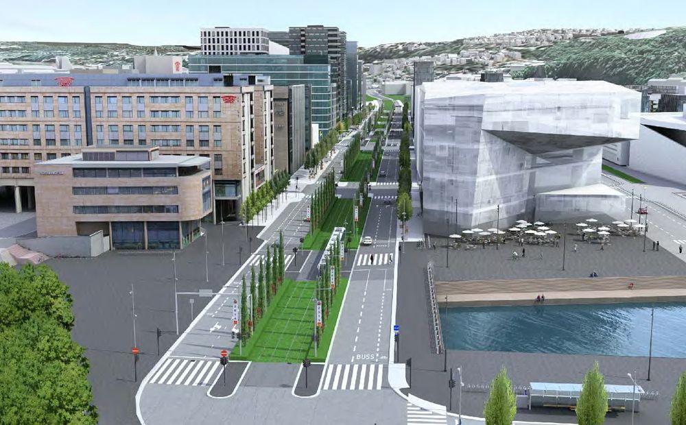 Eierne av det nye hovedbiblioteket (t.h.) har fått beskjed om å være forsiktig med Dronning Eufemias gate (i midten).