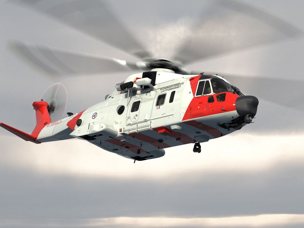 Slik vil AW101 se ut når den får Luftforsvarets farger. De første to maskinene skal trolig leveres om i overkant av tre år.