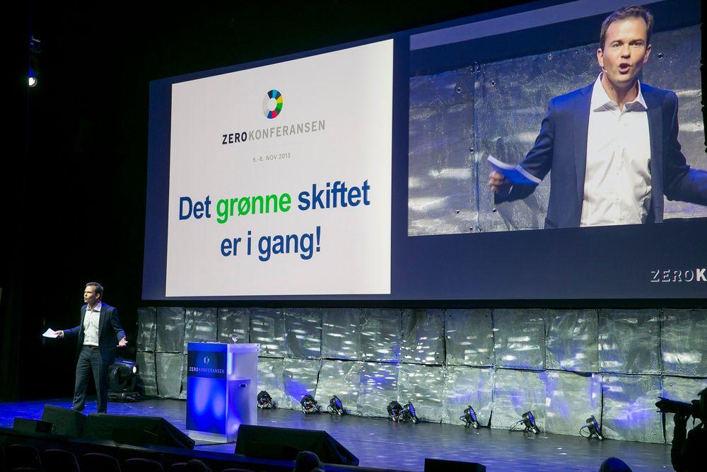 Daglig leder Marius Holm i Zero under Zero-konferansen i Folketeatret i Oslo tirsdag.