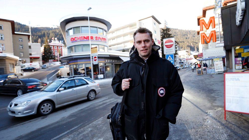 Statsråd Ola Borten Moe, her under World Economic Forum i Davos i Sveits, sier norsk sokkel kan ha et betydelig potensial for CO2-lagring.