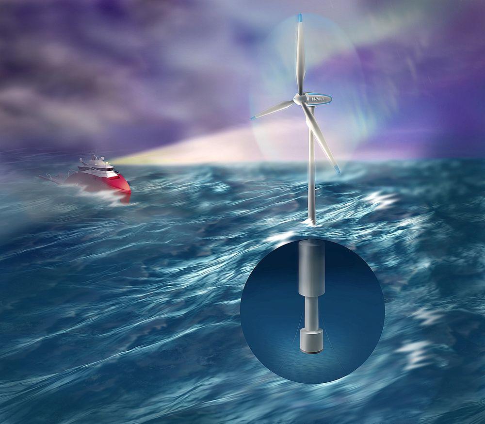 Vindkraft: På en 30 meter dyp flyter kommer en 30 meter høy mast, og vindturbinen. Flere norske universiteter og forskningsinstitutter samarbeider. Også internasjonale miljøer viser interesse. ILLUSTRASJON: Sintef/Bjarne Stenberg