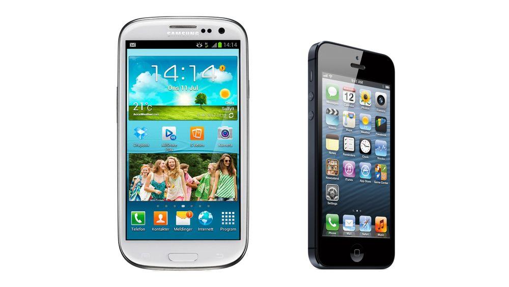 Dårlige antenner: Hverken Samsung Galaxy S III og iPhone 5 kommer godt ut i den danske testen av mobilantenner.