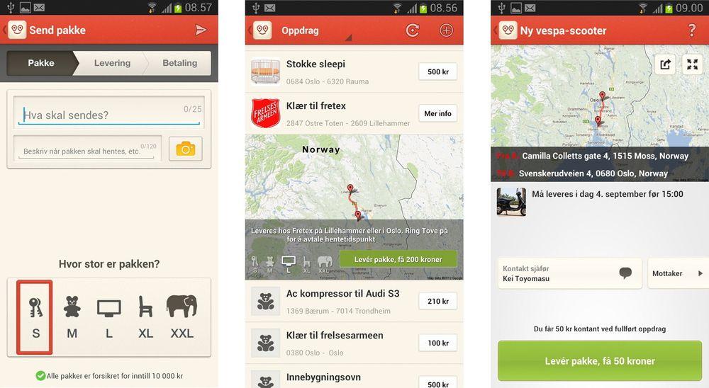 Frakt på Android: Med sin nye Androidapp utvider norske Easybring nedslagsfeltet for miljøvennlig pakketransport til langt flere.