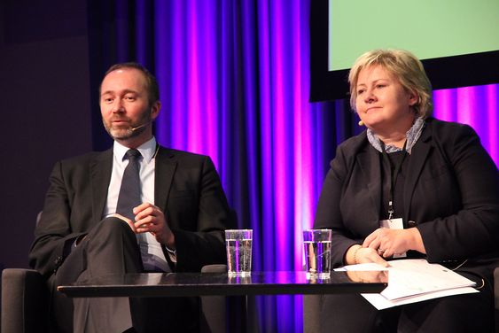 ENIGE OG UENIGE: Næringsminister Trond Giske og Høyre-leder Erna Solberg var enige om behovet for flere ingeniører, men uenige om hvor godt det går for norsk næringsliv.