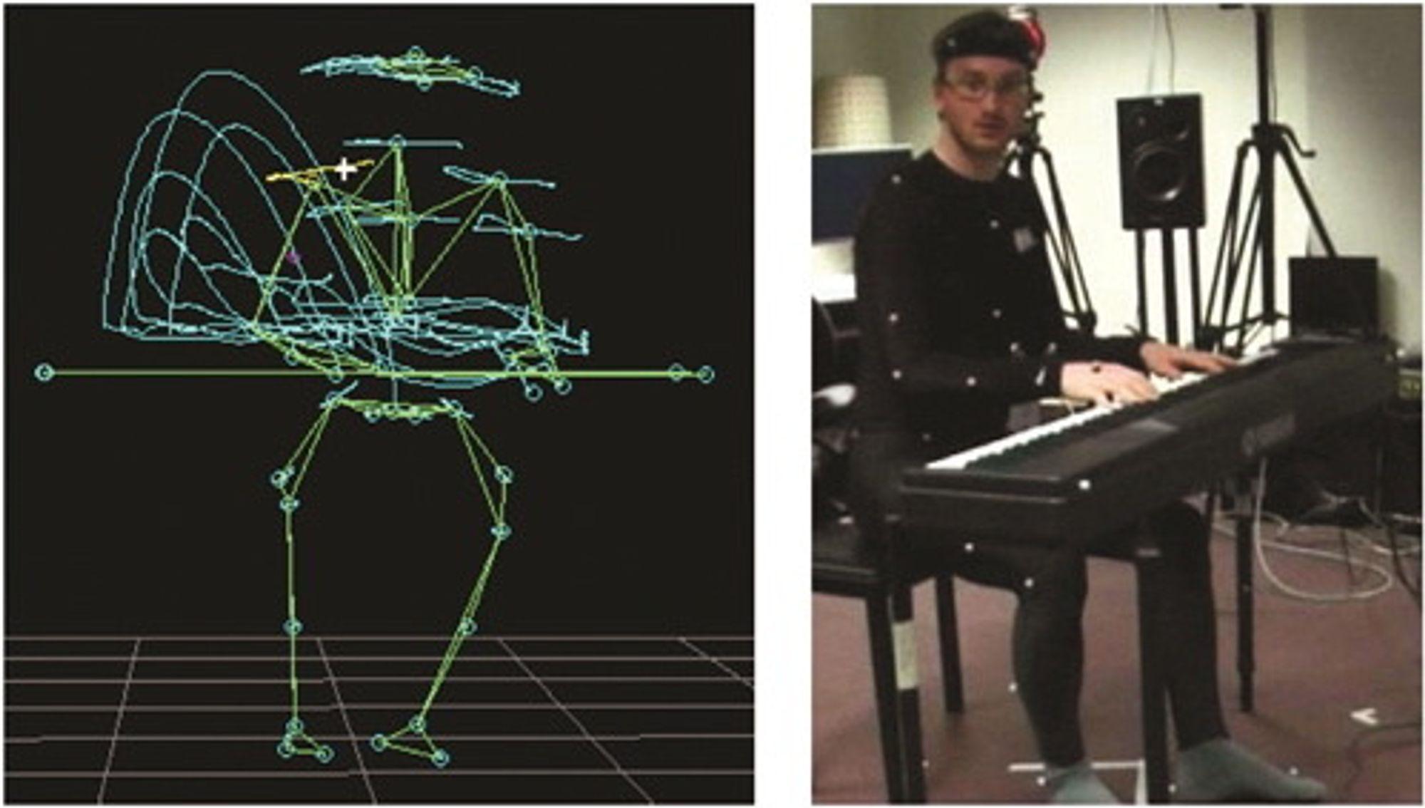 Postdoktor Alexander Refsum Jensenius spiller piano med et infrarødt bevegelsessporingssystem.