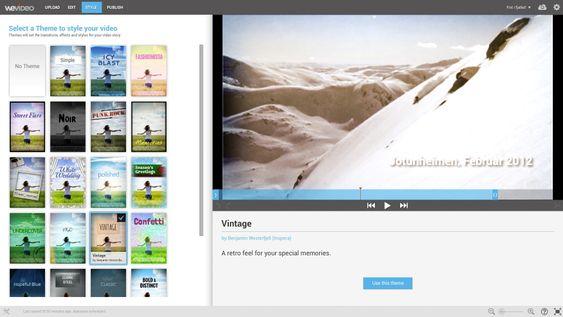 Tema: For å gøre det enkelt for brukerne kan de velge ferdiglagede tema til videoen de lager. Da får de automatisk effekter, overganger, musikk og annet som hører med.