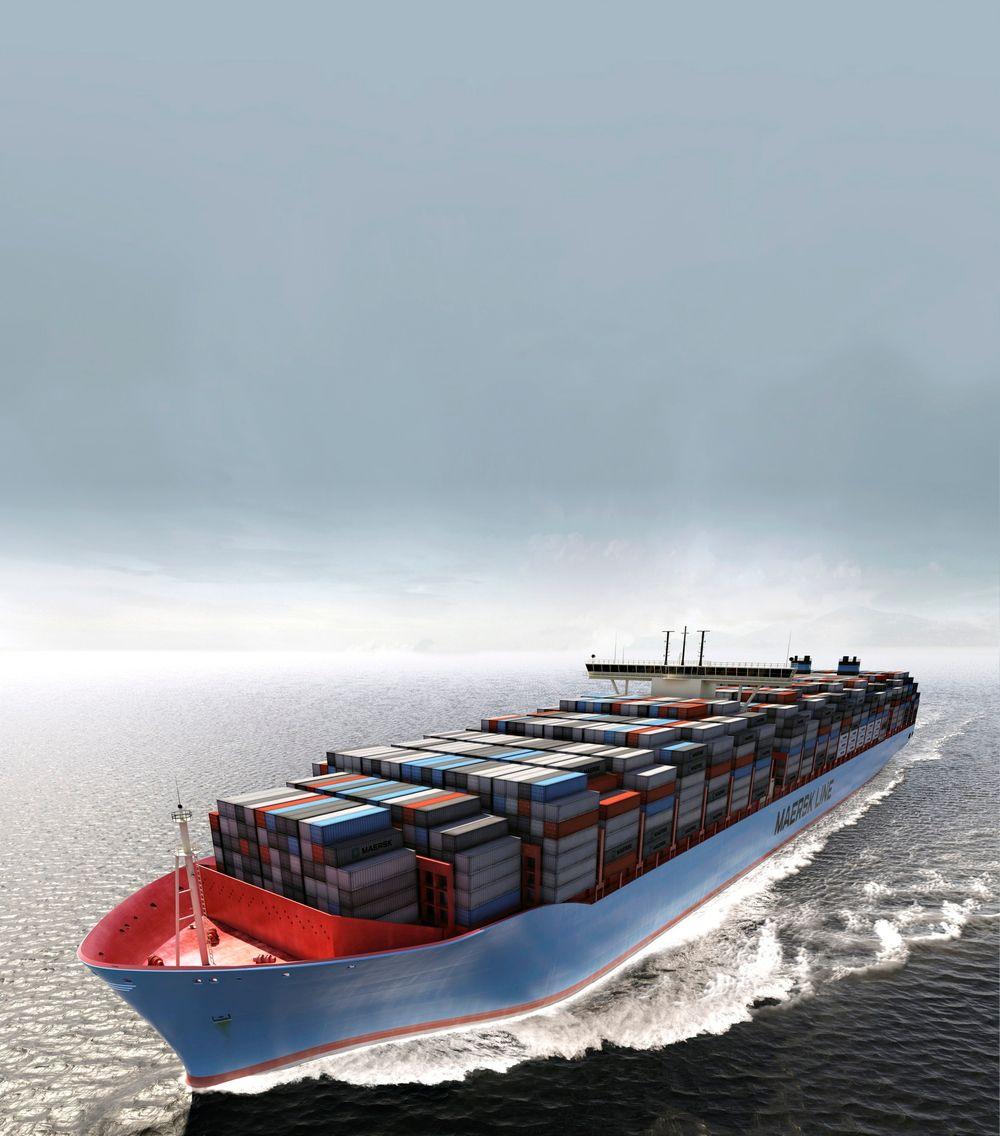 Alle monner drar:  Til sommeren kommer det første Maersk trippel E-skipet i rute. Det er mye mer energieffektivt enn tidligere design. Nye slike skritt tas i tillegg til endring av drivstofftype som gjør at skipsflåten i 2050 er mer miljøvennlig.