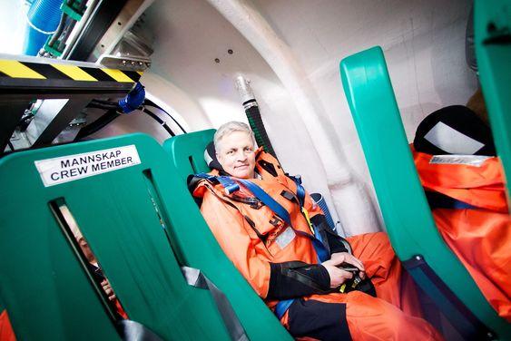Administrerende direktør i Schat Harding, Geir Arne Veglo, og noen titalls andre personer var med da livbåten gjennomførte sitt jomfrustup.