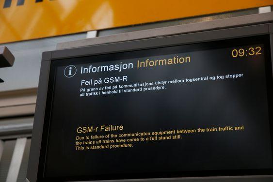 Reisende fra Oslo S fikk i dag morges denne meldingen.