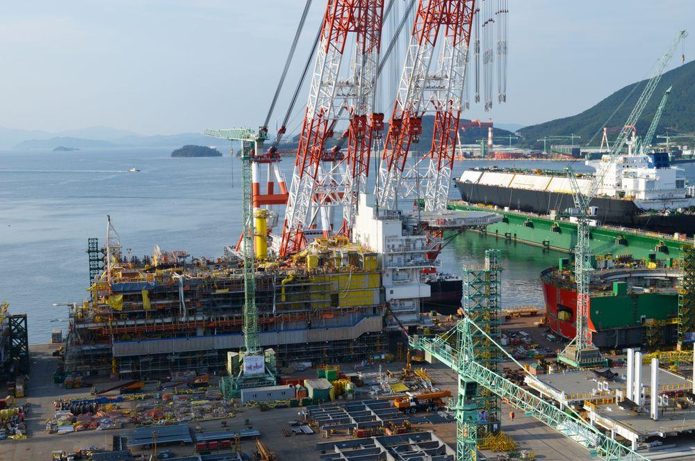 I RUTE: Etter utfordringer med arbeidstegninger er man nå i rute med Valemon-prosjektet. Akkurat nå blir plattformen satt sammen ved Samsung-verftet i Sør-Korea. Planen er å starte produksjonen i løpet av høsten neste år.