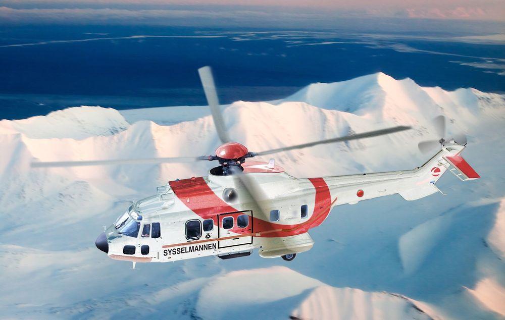 Slik blir Sysselmannen på Svalbards AS332L1-helikoptre i Lufttransport-drakt.