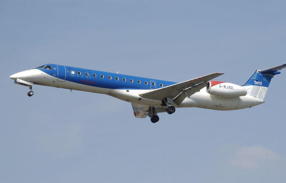 Embraer-fly, som denne ERJ-145, med BMI Regional-dekor blir etter hvert et vanlig syn på Sola, Kvernberget, Evenes og Langnes.