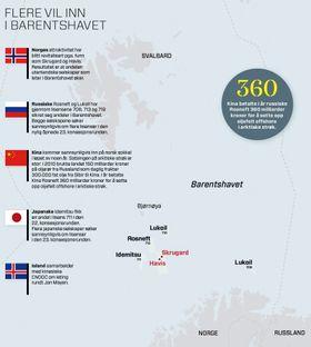 På inntog i arktiske strøk: Flere utenlandske aktører ønsker å sikre seg andeler i den norske delen av Barentshavet.