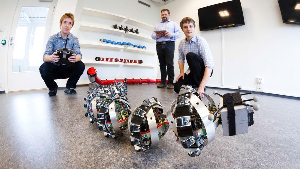 SINTEF-forskerne Pål Liljebäck og Aksel Transeth leker seg med slangeroboten Wheeko sammen med Knut Robert Fossum ved CIRiS, NTNU, som er partner i prosjektet.