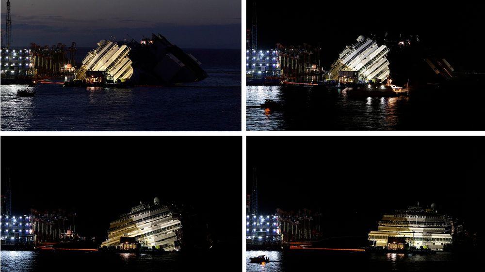 Costa Concordia ble mandag og natt til tirsdag sakte heist opp og satt på rett kjøl. Nå skal cruiseskipet som havarerte ved vestkysten av Italia 13. januar i fjor, stabiliseres før det taues bort til opphogging. 32 mennesker mistet livet i forliset, og to av de omkomne er ennå ikke funnet.