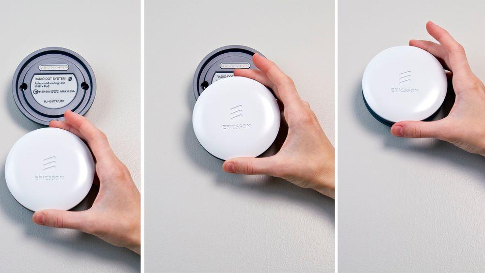 Så enkelt: Når den lille basen til Ericssons nye Radio Dot er festet til veggen og forbundet til radioenheten med ethernetkabel kan man velge mobilfrekvens bare gjennom å klikke på en antenne som er tilpasset frekvensen.